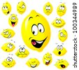 lemon cartoon with many facial expressions - stock vector