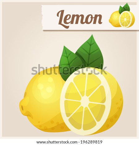 Lemon. Detailed Vector Icon. Series of food and drink and ingredients for cooking.