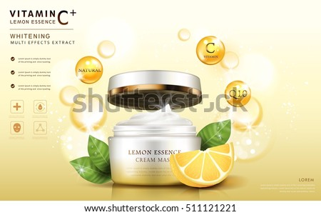 Lemon essence ads, cream mask bottle template with ingredients and sparkling elements around it, 3d illustration
