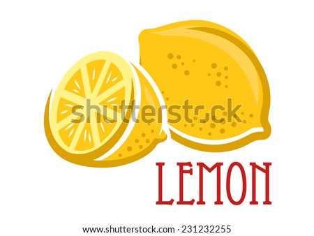 Lemon fruit symbol in cartoon sketch style, vector illustration - stock vector