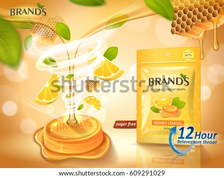 lemon honey flavor throat drops with leaves and honeycomb elements, orange background 3d illustration