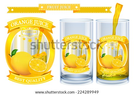 Lemon juice Label vector visual, ideal for fruit juice. Can drawn with mesh tool. Fully adjustable & scalable. Vector illustration  - stock vector