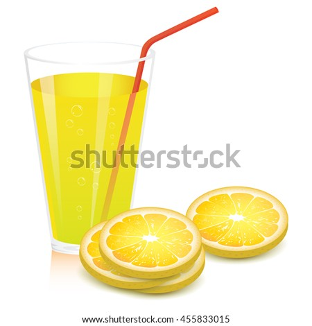 lemon juice on the white background