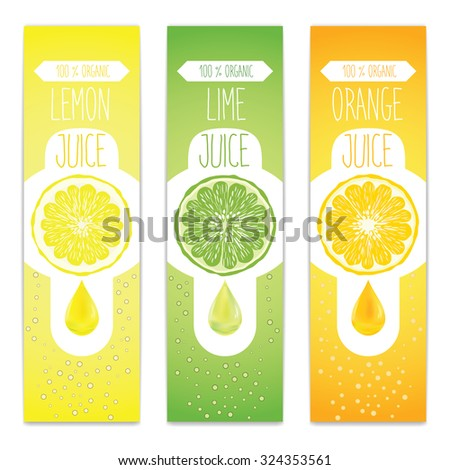Lemon, lime and orange fresh juice label template for citrus fruit products. Three banners with fruit slices, juice drops and bubbles. - stock vector