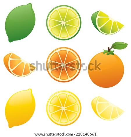 Lemon, lime, orange. - stock vector