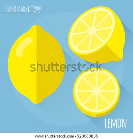 Lemon.  Long shadow flat design vector icon.