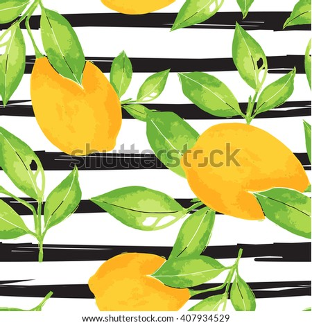 Lemon pattern. Seamless decorative background with yellow lemons and green leaves  on black stripes grunge background. Mediterranean seamless pattern with fruits. Textile pattern.