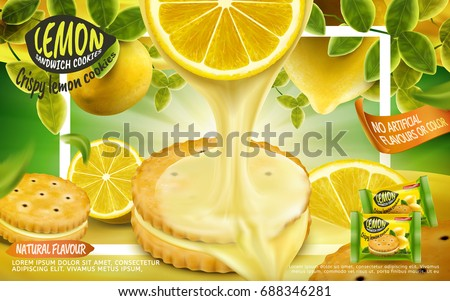Lemon sandwich cookies ad, crispy cookies with dripping sauce from lemon section isolated on green background with white frame in 3d illustration