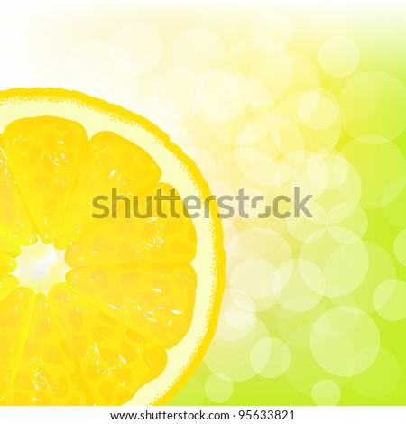 Lemon Segment With Juice And Bokeh, Vector Background - stock vector