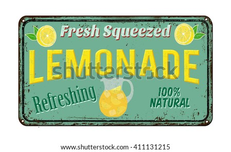 Lemonade vintage rusty metal sign on a white background, vector illustration - stock vector