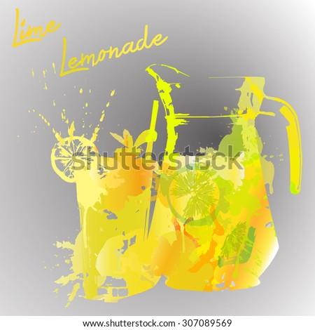 lemonade with watercolor splash  - stock vector