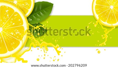 lemons with drops of juice - stock vector