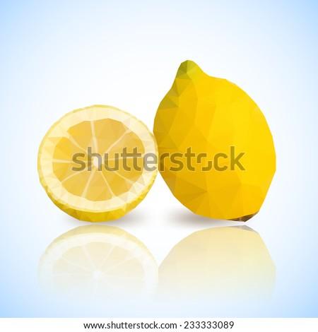 lemons with vector polygonal design - stock vector