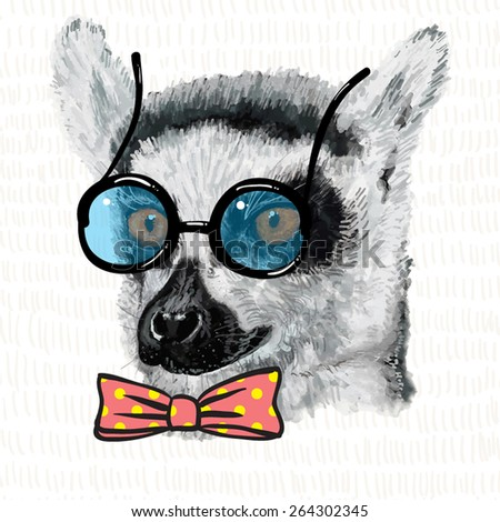 Lemur in blue glasses with black frame and pink bow in yellow polka dot, vintage illustration of hipster animal, monkey.  - stock vector