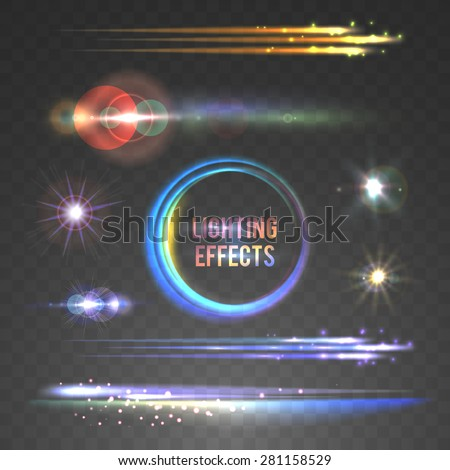 Lens flare and lighting effects collection. Vector illustration, eps10. - stock vector