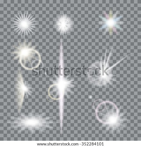 Lens flare set with transparent easy replace background and edit colors. Vector design elements Eps 10. Effects for design and decor - stock vector