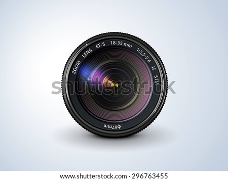 lens reflex camera, realistic, on a plain background - stock vector
