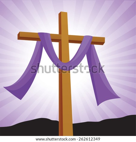 Lenten cross with purple background. Easter day.Crucifixion of Jesus Christ, and His resurrection three days later. - stock vector