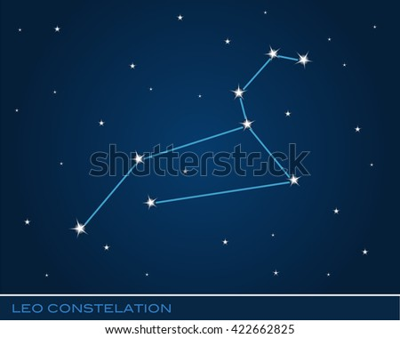 Leo constellation bright stars in cosmos - stock vector