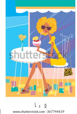 Leo horoscope sign as a girl drinking strawberry cocktail in cafe open terrace. Vector illustration. Cartoon girl drinking strawberry cocktail in cafe. Strawberry cocktail in cafe. - stock vector