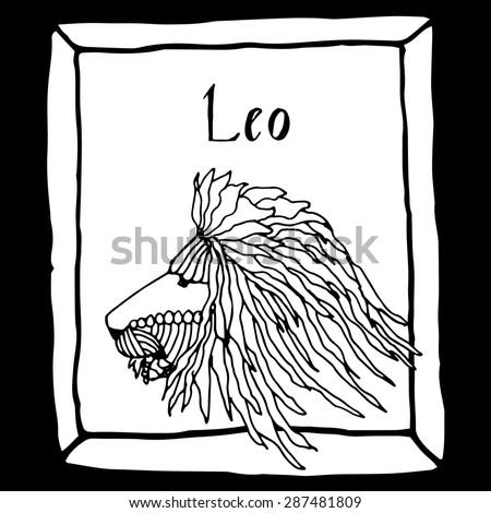 Leo horoscope sign vectorized hand draw - stock vector