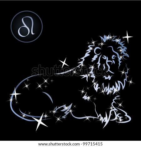 Leo/Lovely zodiac signs formed by stars on black background - stock vector