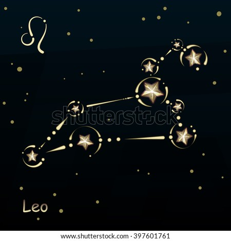 Leo on a dark blue background, surrounded by stars. Constellation connected lines and decor. - stock vector