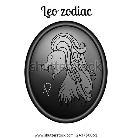 Leo zodiac sign in oval frame, vector Illustration. Black and white. Outline, contour icon. - stock vector