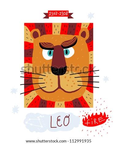 leo. zodiac vector drawing - stock vector