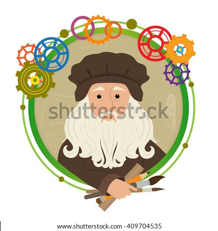 Leonardo Da Vinci Cartoon - Cute cartoon of Leonardo Da Vinci holding brushes, pencil and a ruler. With a green circled frame and colorful gears around him. Eps10 - stock vector