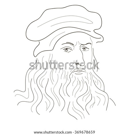 Leonardo Da Vinci. Sketch illustration. Black and white. Vector. - stock vector