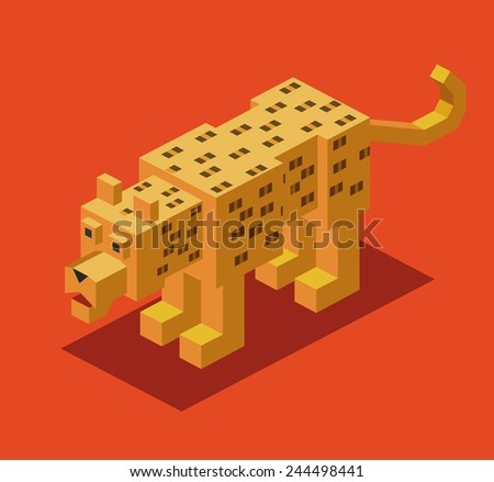 leopard. 3d pixelate isometric vector - stock vector