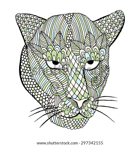 Leopard head with embroidery decoration - stock vector