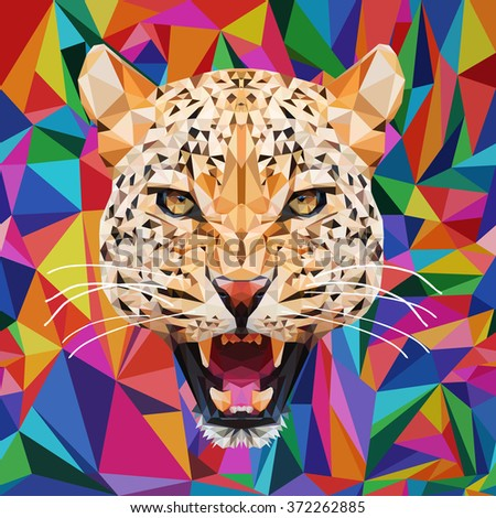 Leopard polygon on the background of the triangles in on the background of the triangles in bright, saturated colors.Polygonal animal. - stock vector