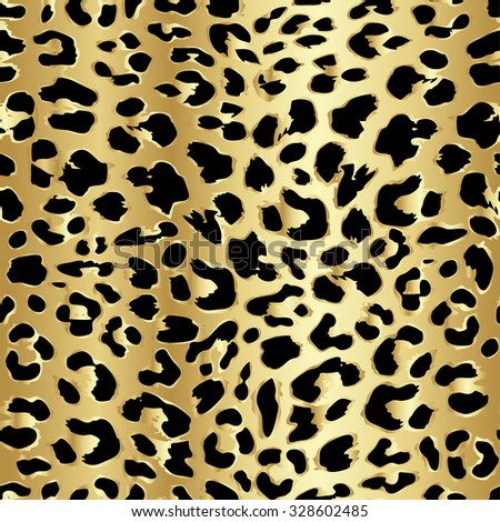 Leopard seamless pattern design in luxury gold color, vector illustration background - stock vector