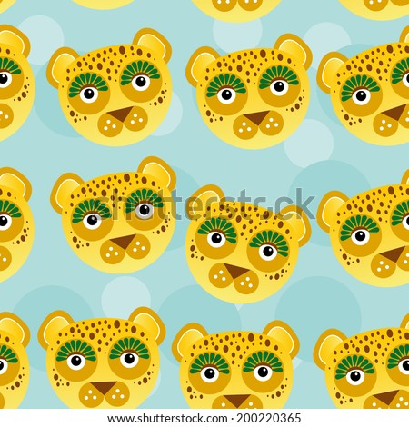 Leopard Seamless pattern with funny cute animal face on a blue background. Vector - stock vector