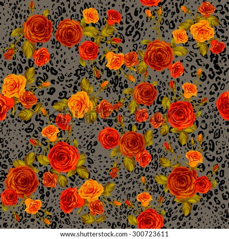 Leopard skin and orange roses seamless pattern. Animal and floral background.  - stock vector