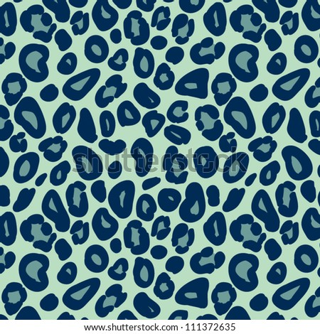 Leopard skin in blue seamless pattern, vector - stock vector