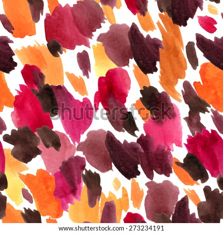 Leopard skin seamless pattern. Animal background Watercolor vector illustration in bright colors. - stock vector