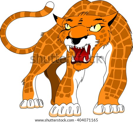 Leopard spotty skin with angry growls, vector