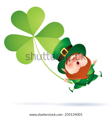 Leprechaun and clover - stock vector