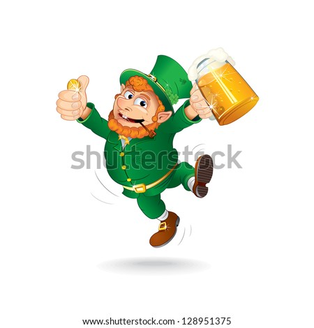 Leprechaun Celebrating Saint Patrick's Day. Jumping Leprechaun with Beer and a Golden Coin. Isolated Vector Illustration. - stock vector