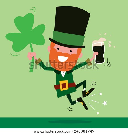 Leprechaun Celebrating St Patrick's Day - stock vector