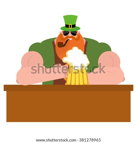 Leprechaun drinking beer. Big and serious leprechaun at  bar holds pint of ALE. Powerful magical midget with  big Red Beard. Green frock coat and hat cylinder. Irish holiday St. Patrick's day. - stock vector