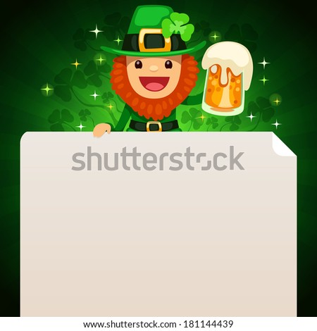 Leprechaun looking at blank poster on top on green background. In the EPS file, each element is grouped separately.