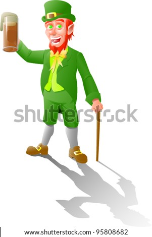 leprechaun makes a toast with beer and leans on a cane - stock vector