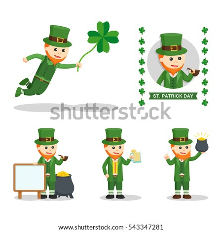 Leprechaun People Set Illustration Design Stock Vector 543347281