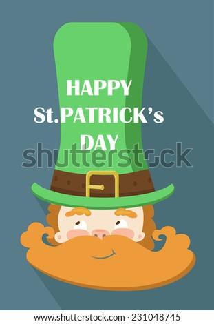 Leprechaun symbol of St. Patrick's Day. Flat design. Greeting Card.  - stock vector