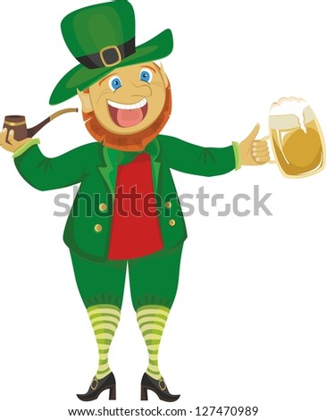 Leprechaun with a pipe and beer isolated on a white background