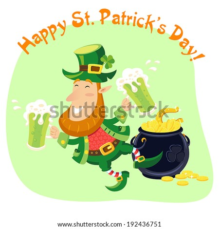 Leprechaun with beer mugs and pot of gold coins. St. Patrick's Day card. - stock vector